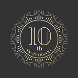 10 years anniversary vector icon, logo. Graphic design element for 10th anniversary birthday card royalty free illustration