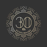 30 years anniversary vector icon, logo. Graphic design element for 30th anniversary birthday card Royalty Free Stock Photography