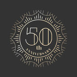 50 years anniversary vector icon, logo. Graphic design element for 50th anniversary birthday card royalty free illustration