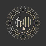 60 years anniversary vector icon, logo. Graphic design element for 60th anniversary birthday card stock illustration