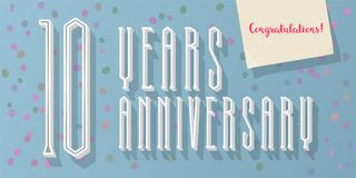 10 years anniversary vector icon, logo. Graphic horizontal design element for 10th anniversary greeting card Stock Photos