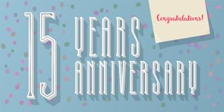 15 years anniversary vector icon, logo. Graphic horizontal design element for 15th anniversary greeting card Stock Photography