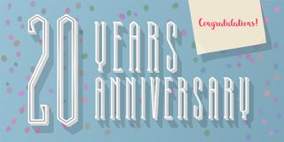20 years anniversary vector icon, log. O. Graphic horizontal design element for 20th anniversary greeting card Stock Image