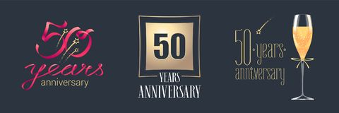 50 years anniversary vector icon, logo set. Festive design element with golden numbers and champagne for 50th anniversary celebration Stock Photos