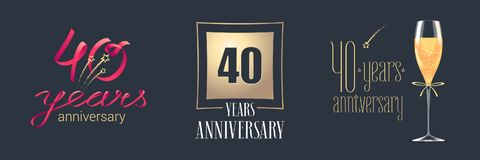 40 years anniversary vector icon, logo set. Festive design element with golden numbers and champagne for 40th anniversary celebration Vector Illustration