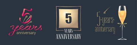 5 years anniversary vector icon, logo set. Festive design element with golden numbers and champagne for 5th anniversary celebration Stock Image