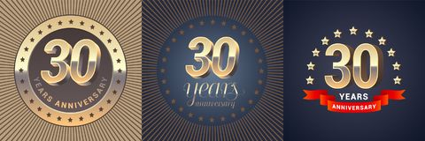 30 years anniversary vector icon, logo set. Graphic design element with golden 3D numbers for 30th anniversary decoration Royalty Free Stock Image