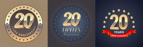20 years anniversary vector icon, logo set. Graphic design element with golden 3D numbers for 20th anniversary decoration Royalty Free Illustration