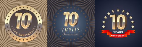 10 years anniversary vector icon, logo set. Graphic design element with golden 3D numbers for 10th anniversary decoration Stock Image