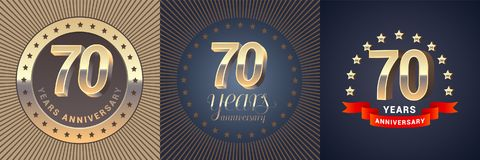 70 years anniversary vector icon, logo set Royalty Free Stock Photography