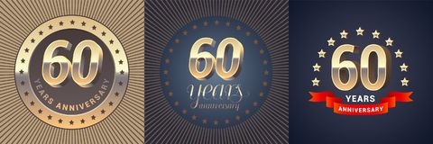60 years anniversary vector icon, logo set. Graphic design element with golden 3D numbers for 60th anniversary decoration Stock Image