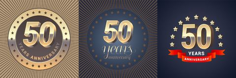 50 years anniversary vector icon, logo set. Graphic design element with golden 3D numbers for 50th anniversary decoration Stock Photo