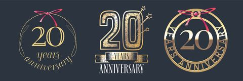 20 years anniversary vector icon, logo set. Graphic design element with golden numbers for 20th anniversary celebration Royalty Free Stock Images