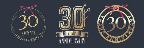 30 years anniversary vector icon, logo set. Graphic design element with golden numbers for 30th anniversary celebration Royalty Free Stock Image