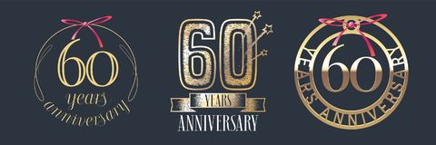 60 years anniversary vector icon, logo set. Graphic design element with golden numbers for 60th anniversary celebration royalty free illustration
