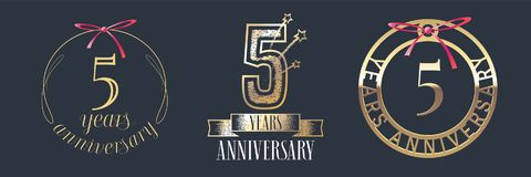 5 years anniversary vector icon, logo set. Graphic design element with golden numbers for 5th anniversary celebration Royalty Free Stock Photography