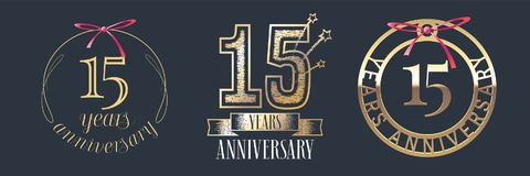 15 years anniversary vector icon, logo set. Graphic design element with golden numbers for 15th anniversary celebration Stock Image
