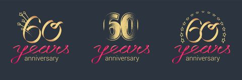 60 years anniversary vector icon, logo set. Graphic design element with lettering and red ribbon for celebration of 60th anniversary stock illustration