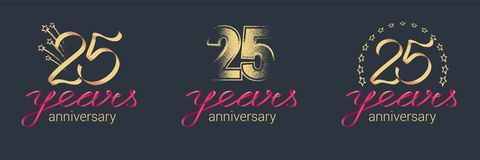 25 years anniversary vector icon, logo set. Graphic design element with lettering and red ribbon for celebration of 25th anniversary Royalty Free Stock Images