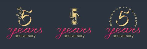 5 years anniversary vector icon, logo set Royalty Free Stock Photography