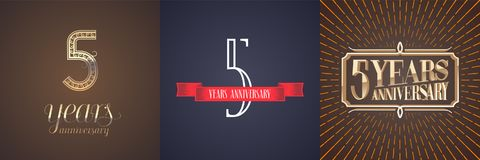 5 years anniversary vector icon, logo set. Graphic design element with red ribbon and golden number for celebration of 5th anniversary Royalty Free Stock Image
