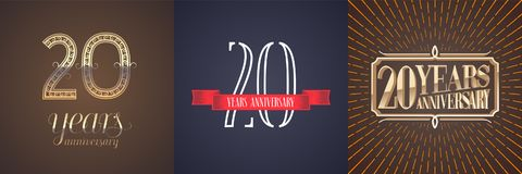 20 years anniversary vector icon, logo set. Graphic design element with red ribbon and golden number for celebration of 20th anniversary Royalty Free Stock Photography