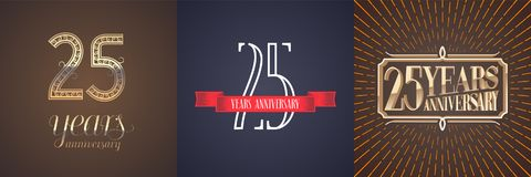 25 years anniversary vector icon, logo set. Graphic design element with red ribbon and golden number for celebration of 25th anniversary Royalty Free Stock Photo
