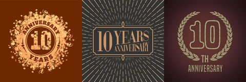 10 years anniversary vector icon, logo set Stock Photos