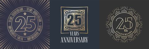 25 years anniversary vector icon, logo set. Graphic round gold color design elements for 25th anniversary banner Stock Image