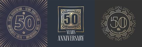 50 years anniversary vector icon, logo set. Graphic round gold color design elements for 50th anniversary banner Royalty Free Stock Photos