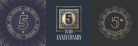 5 years anniversary vector icon, logo set. Graphic round gold color design elements for 5th anniversary banner Stock Photo