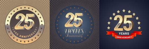 25 years anniversary vector icon, logo set. Graphic design element with golden 3D numbers for 25th anniversary decoration Stock Photo