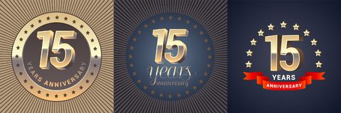 15 years anniversary vector icon, logo set. Graphic design element with golden 3D numbers for 15th anniversary decoration stock illustration