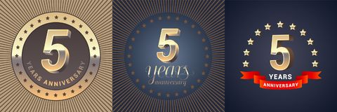 5 years anniversary vector icon, logo set. Graphic design element with golden 3D numbers for 5th anniversary decoration Stock Photo