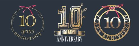 10 years anniversary vector icon, logo set. Graphic design element with golden numbers for 10th anniversary celebration Royalty Free Illustration