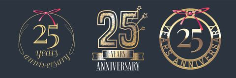 25 years anniversary vector icon, logo set. Graphic design element with golden numbers for 25th anniversary celebration Stock Photos