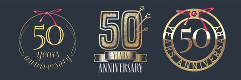 50 years anniversary vector icon, logo set. Graphic design element with golden numbers for 50th anniversary celebration Stock Image