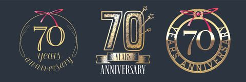 70 years anniversary vector icon, logo set. Graphic design element with golden numbers for 70th anniversary celebration Stock Image