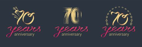 70 years anniversary vector icon, logo set. Graphic design element with lettering and red ribbon for celebration of 70th anniversary Stock Images