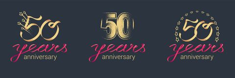 50 years anniversary vector icon, logo set Royalty Free Stock Photos