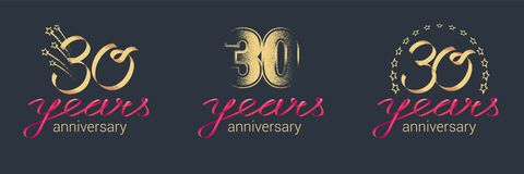 30 years anniversary vector icon, logo set. Graphic design element with lettering and red ribbon for celebration of 30th anniversary Royalty Free Stock Image