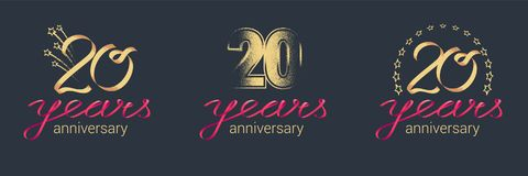 20 years anniversary vector icon, logo set. Graphic design element with lettering and red ribbon for celebration of 20th anniversary vector illustration