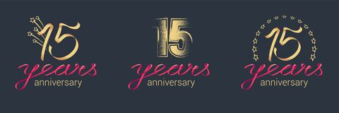 15 years anniversary vector icon, logo set. Graphic design element with lettering and red ribbon for celebration of 15th anniversary stock illustration