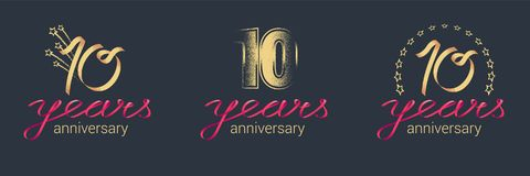 10 years anniversary vector icon, logo set. Graphic design element with lettering and red ribbon for celebration of 10th anniversary Stock Photo