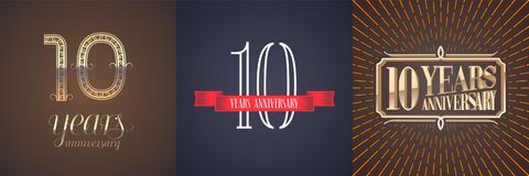10 years anniversary vector icon, logo set. Graphic design element with red ribbon and golden number for celebration of 10th anniversary Stock Illustration