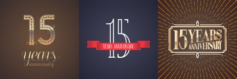 15 years anniversary vector icon, logo set. Graphic design element with red ribbon and golden number for celebration of 15th anniversary Royalty Free Stock Image