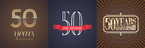 50 years anniversary vector icon, logo set. Graphic design element with red ribbon and golden number for celebration of 50th anniversary vector illustration