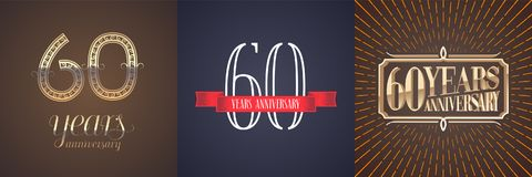 60 years anniversary vector icon, logo set. Graphic design element with red ribbon and golden number for celebration of 60th anniversary Stock Photos