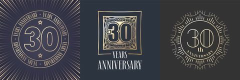 30 years anniversary vector icon, logo set. Graphic round gold color design elements for 30th anniversary banner Stock Images