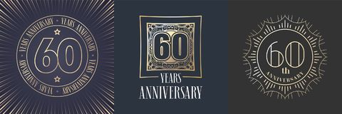 60 years anniversary vector icon, logo set. Graphic round gold color design elements for 60th anniversary banner Royalty Free Stock Images